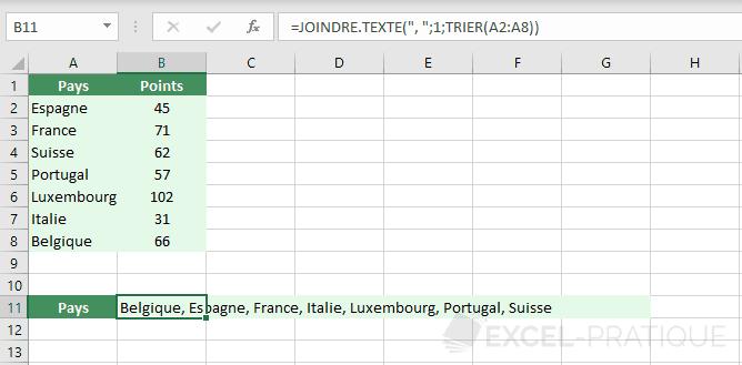 excel fonction joindre texte tri alphabetique