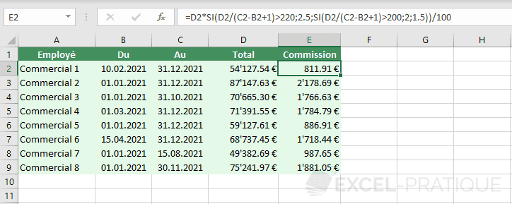excel tableau commissions taux variable let