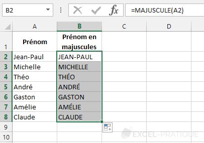 fonction excel majuscule noms