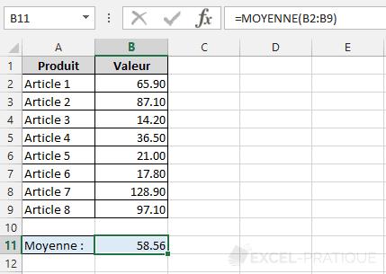 fonction excel moyenne valeur