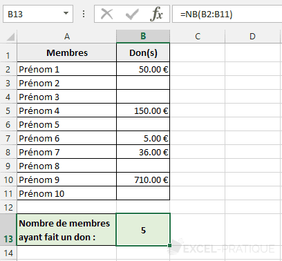 fonction excel nb compter montants