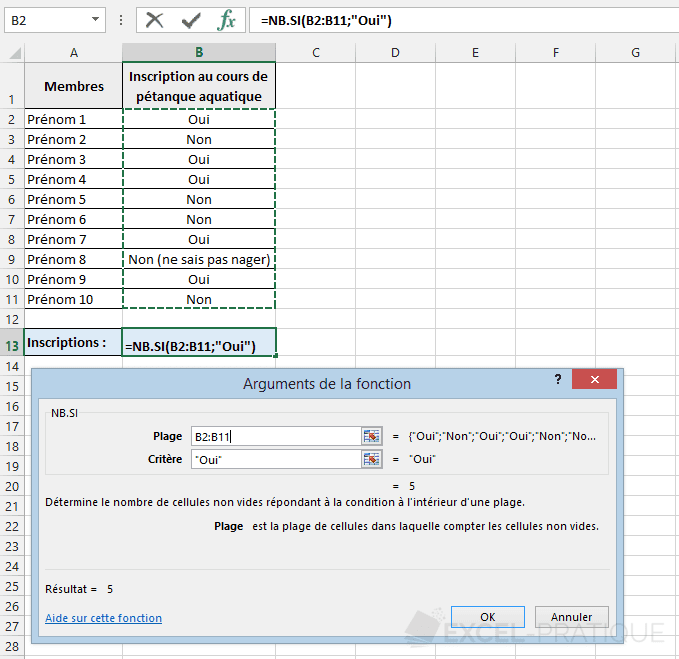 fonction excel nb si compter condition