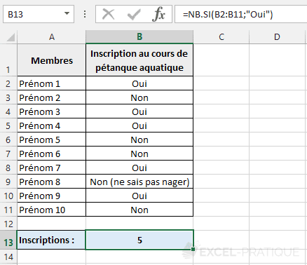 fonction excel nb si compter oui
