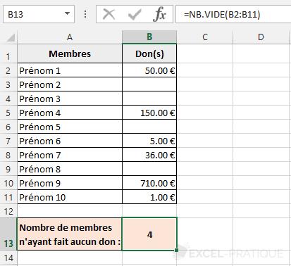 fonction excel nb vide compter montants