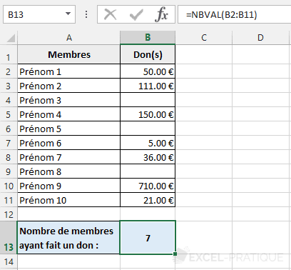 fonction excel nbval compter montants