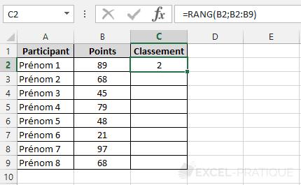 fonction-excel-classement-participants - rang