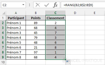 fonction-excel-rang-participants - rang