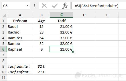 fonction excel si recopie tarifs