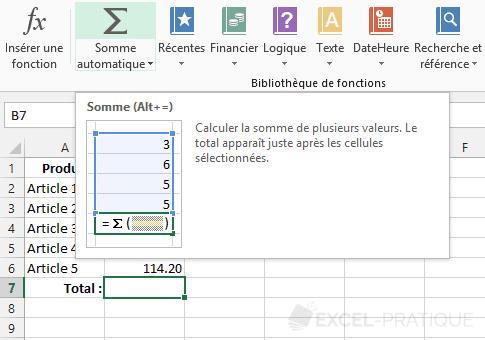 fonction-excel-somme-automatique - somme