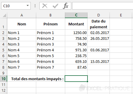 fonction-excel-somme-si-impaye - somme si