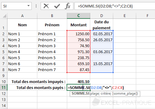 fonction excel somme si non vide