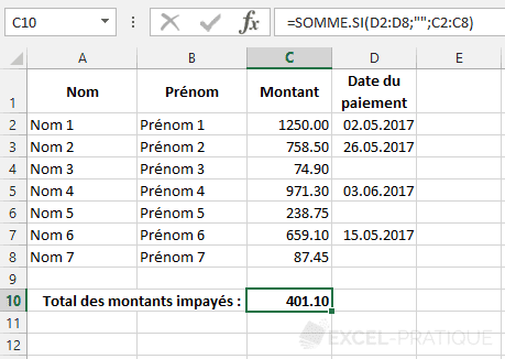 fonction excel somme si total