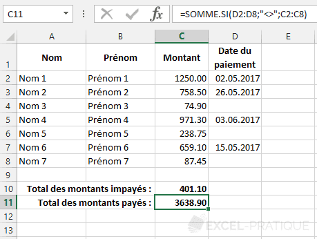 fonction excel somme.si non vide somme si