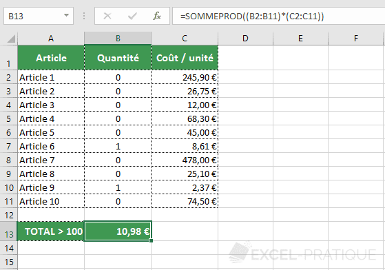 excel fonction sommeprod 0 1