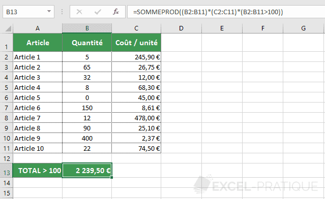 excel fonction sommeprod condition