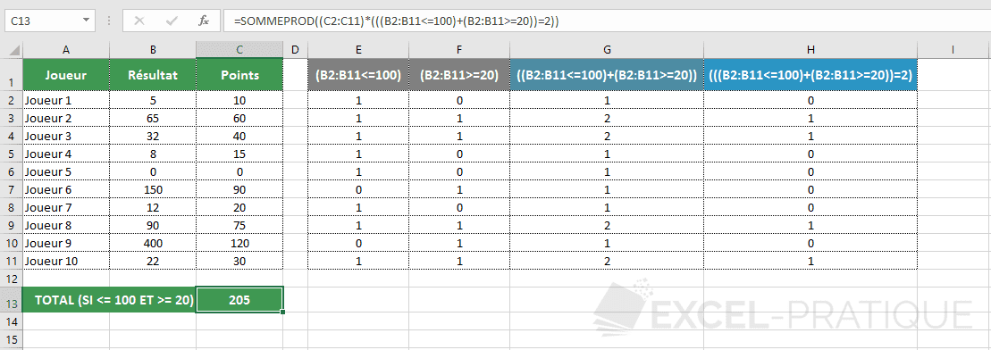 excel fonction sommeprod conditions et png