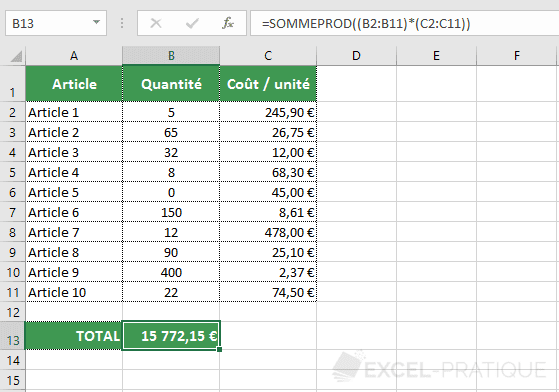 excel fonction sommeprod multiplication