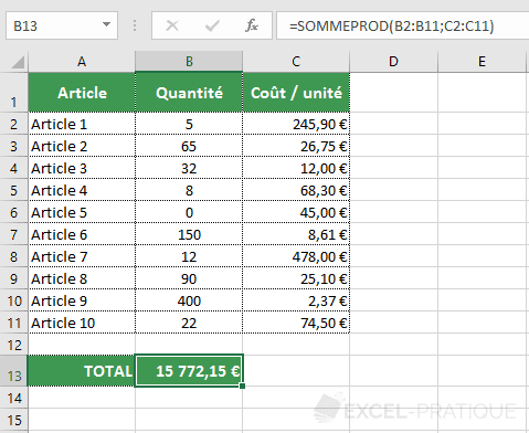 excel fonction sommeprod somme total