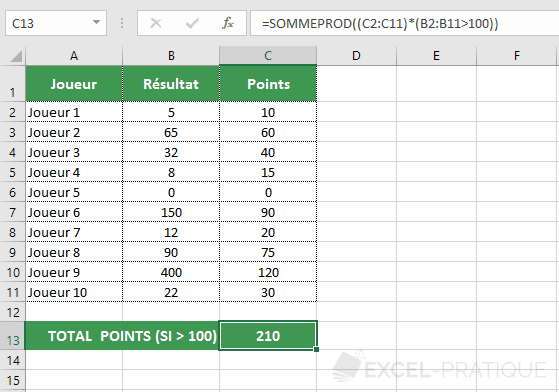 excel sommeprod somme condition