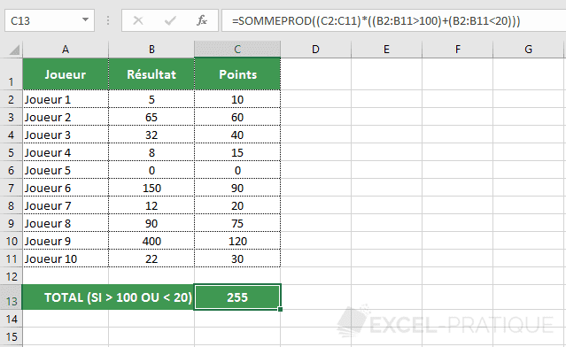 excel sommeprod somme plusieurs conditions