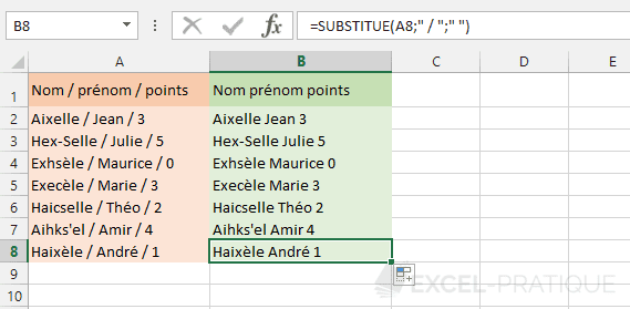 excel fonction substitue remplacement caracteres