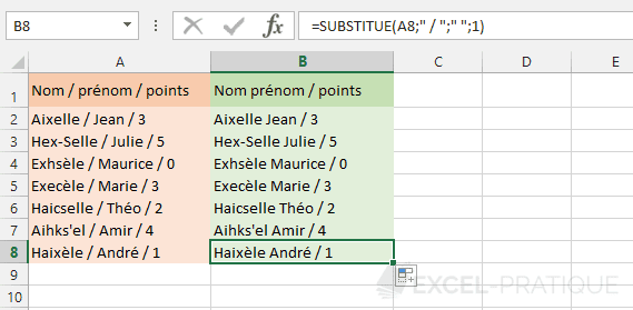 excel fonction substitue remplacement premiere occurence