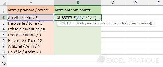 excel fonction substitue