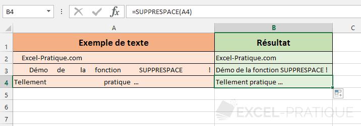 fonction excel suppr espace supprespace
