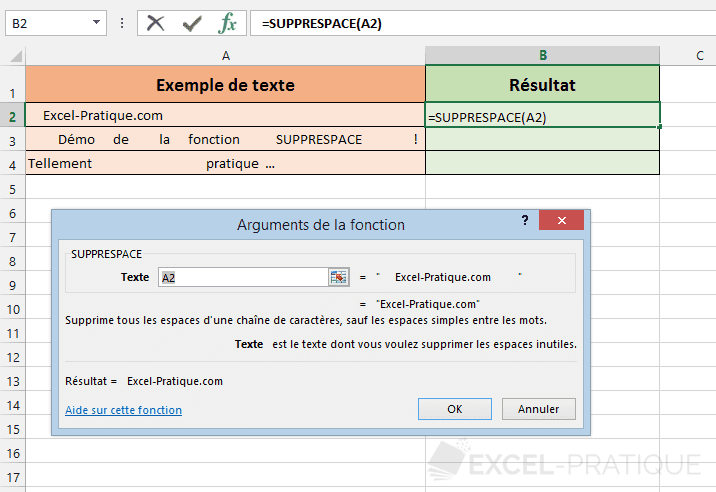 fonction excel supprespace