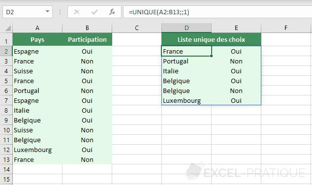excel fonction rechercher valeurs uniques unique