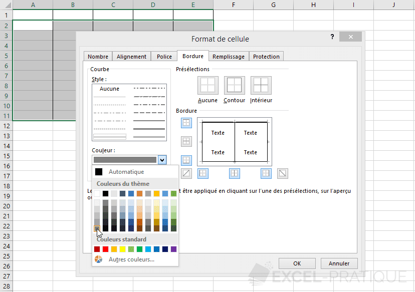 excel couleur bordures
