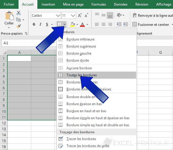 excel quadriller bordures