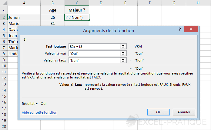 excel fonction si condition age