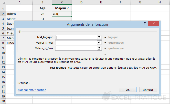excel fonction si