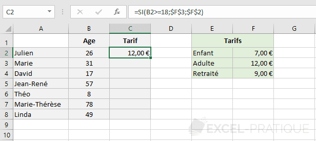excel fonction 3 tarifs fonctions si imbriquees
