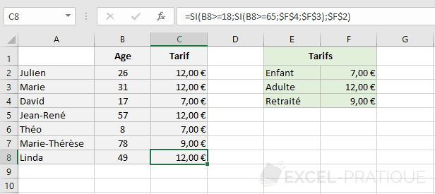 excel fonction si 3 tarifs fonctions imbriquees