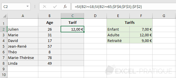 excel fonction si imbrication fonctions imbriquees
