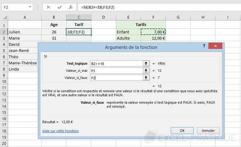 excel fonction si tarif fonctions imbriquees