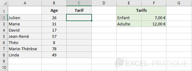 excel fonction tarif fonctions si imbriquees