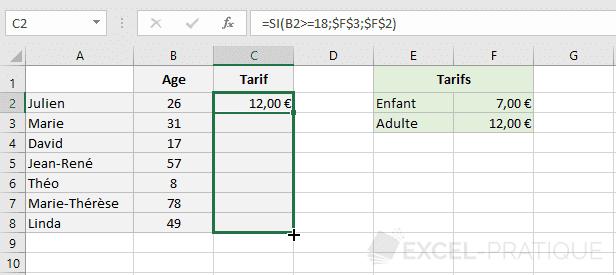 excel fonction tarifs recopie fonctions si imbriquees