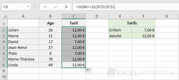 excel fonction tarifs fonctions si imbriquees