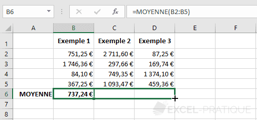 excel fonction moyenne etirer fonctions