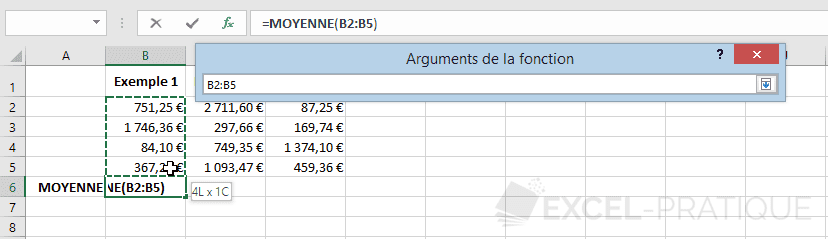 excel fonction moyenne selection plage fonctions