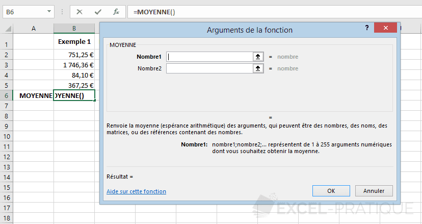 excel fonction moyenne fonctions