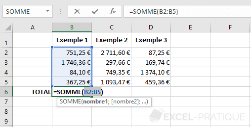 excel fonction somme fonctions