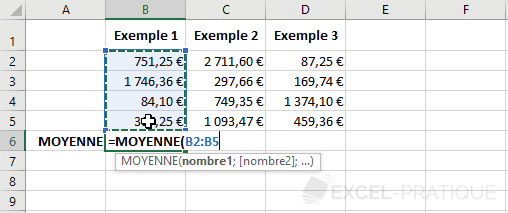 excel moyenne cellules fonctions