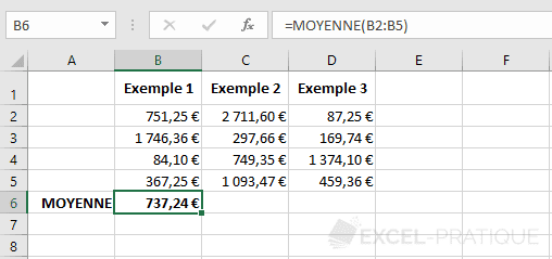 excel moyenne exemple fonctions