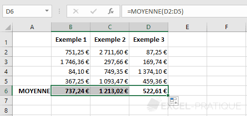 excel moyenne fonctions