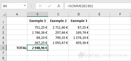 excel somme fonctions