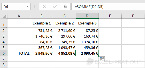 excel sommes fonctions